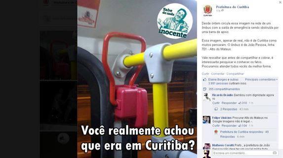 Facebook - Prefeitura de Curitiba