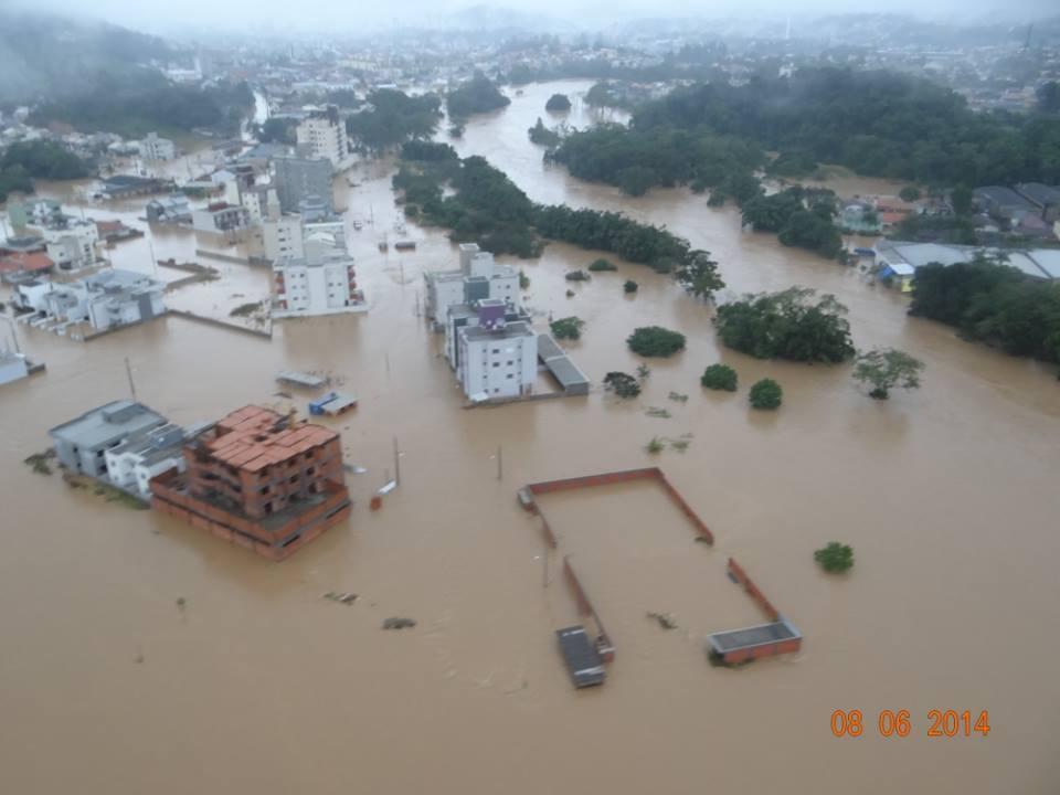Vista aérea de Jaraguá do Sul. Município decretou situação de emergência (Prefeitura de Jaraguá)