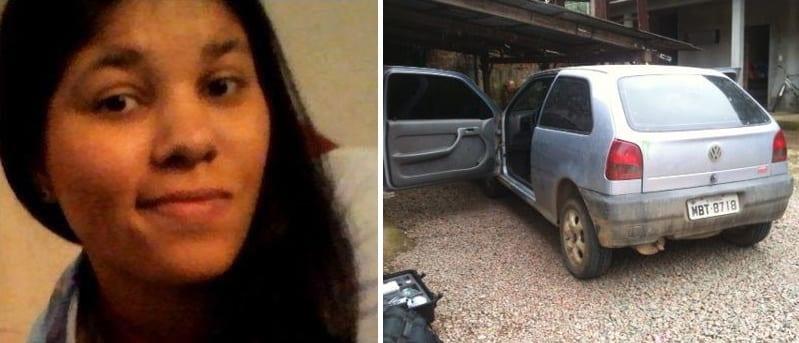 Tamara e o veículo encontrado (Polícia Civil)