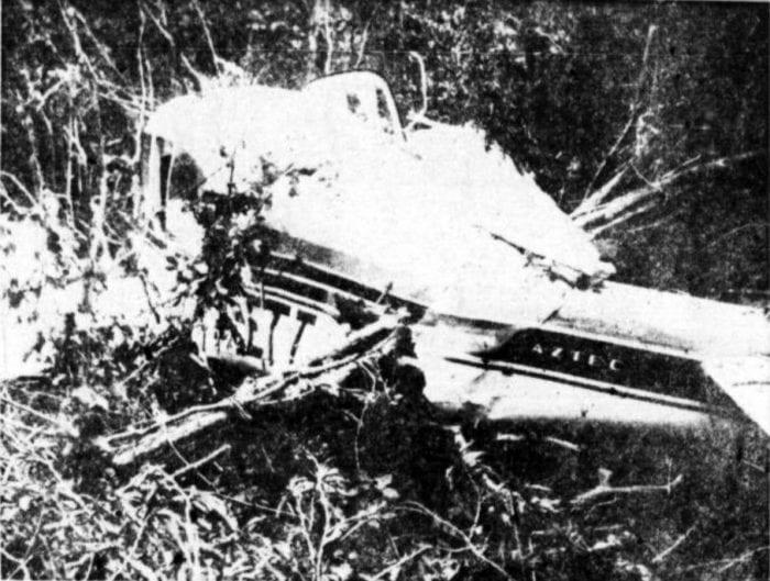 Destroços do Piper Aztec PP-ETT, queda da aeronave vitimaria o ex-presidente Castello Branco, em 1967 (Cultura Aeronautica)