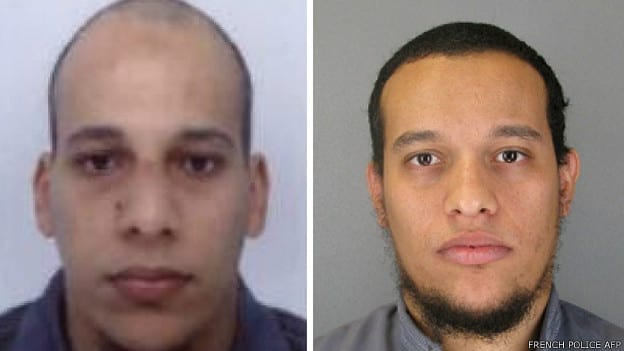 Os irmãos Kouachi, mortos pela polícia enquanto se refugiavam numa gráfica em Dammartin-en-Goele (Polícia Francesa/AFP)
