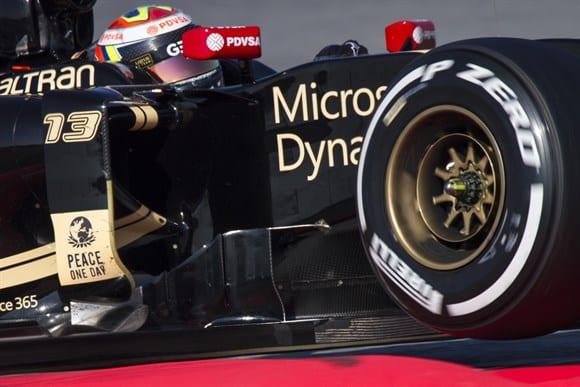 Maldonado e a Lotus,o primeiro motor Merecedes a terminar em primeiro os testes (Xavi Bonilla/Grande Prêmio)