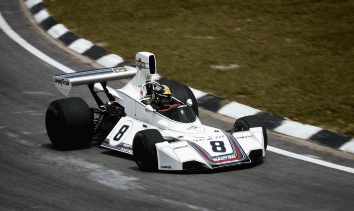 José Carlos Pace e o icônico Brabham BT45. Vitória única do brasileiro em Interlagos, 1975 (Reprodução)