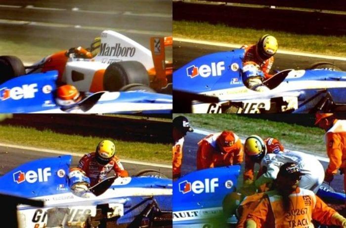 Ayrton salva Erik Comas na Belgica, em 1992 (Reprodução)