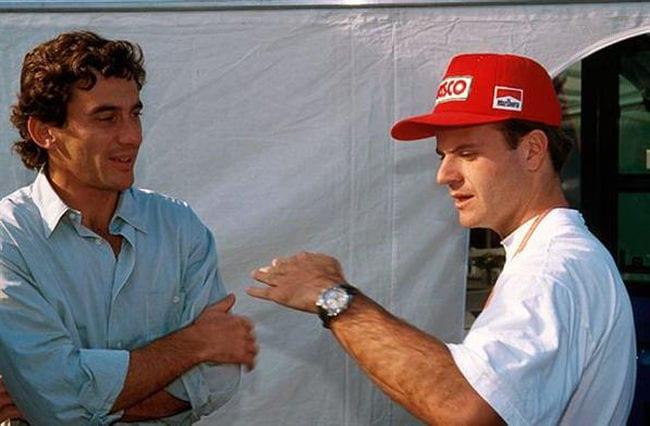 Senna e Rubens Barrichello em 1994 (Gazeta da Região)