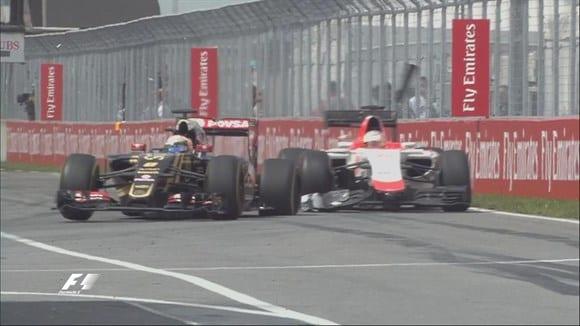 """O impetuoso Grosjean toca Stevens e fura o pneu. Cena """"pastelão"""" em Montreal (TV)"""