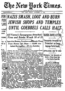 REAÇÃO DA IMPRENSA INTERNACIONAL: The New York Times de 11 de novembro de 1938.