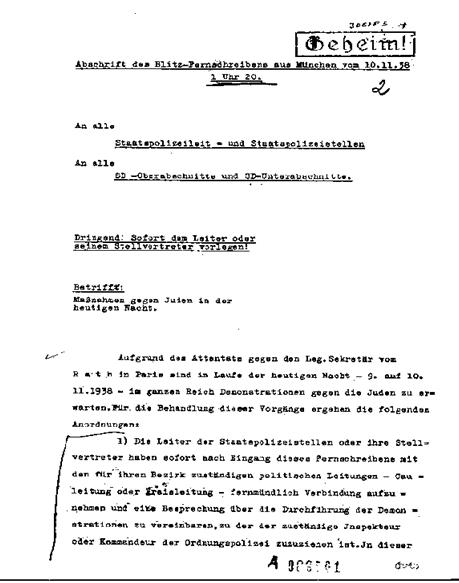 AÇÃO COORDENADA - Posteriormente um telegrama assinado por Reinhard Heydrich é enviado a vários escritórios coordenando as ações da policia com o Partido nazista.