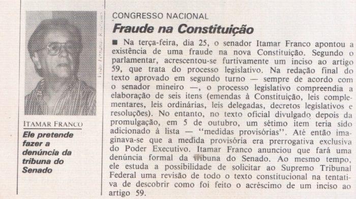 FRAUDE – Acréscimo furtivo na Constituição de 1988.