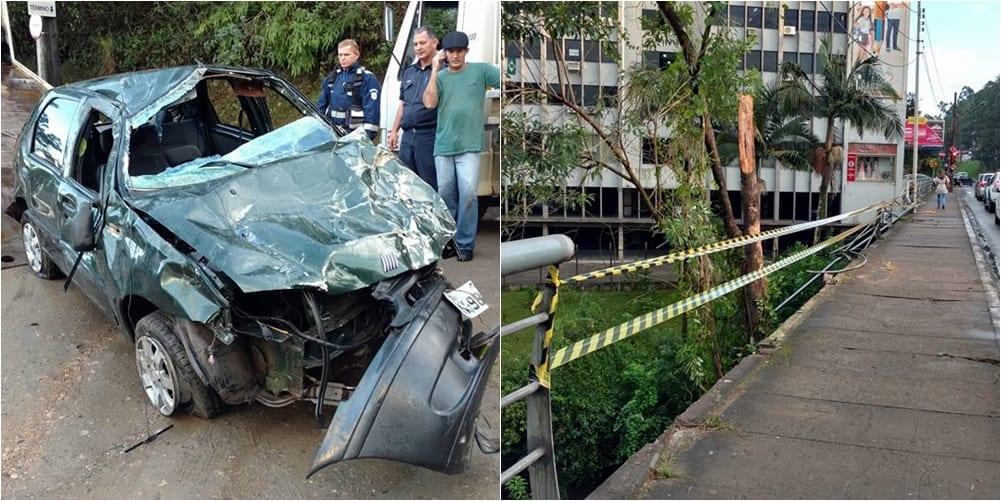 Veículo caiu na ponte que fica próxima a Prefeitura de Blumenau (Jaime Batista)