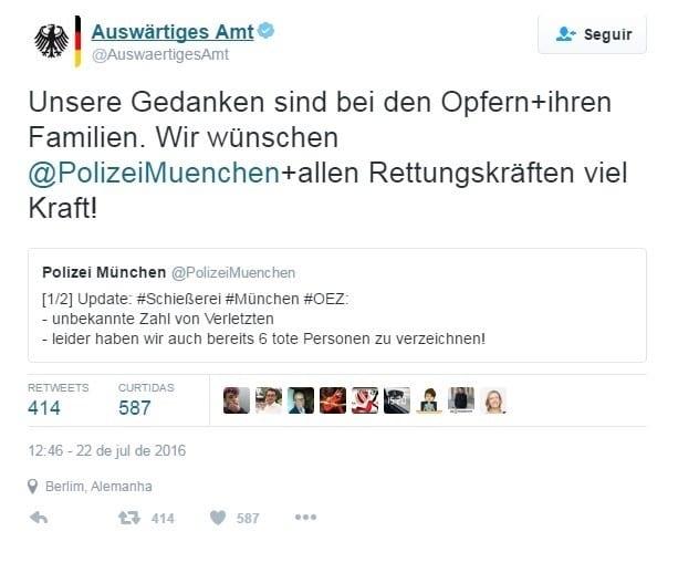 """FORÇA - O Ministério das Relações Exteriores alemão divulgou no Twitter: """"Nossos pensamentos estão com as vítimas e suas famílias. Desejamos a polícia de Munique e todos os serviços de emergência muita força""""."""