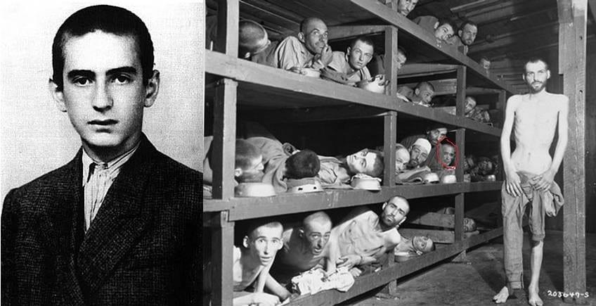 No Campo de Concentração de Auschwitz aos 15 anos. Wiesel foi                       libertado aos 16, com o código A-7713 tatuado em seu braço.