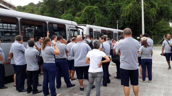 Funcionários do transporte coletivo em paralisação - foto do Sindetranscol