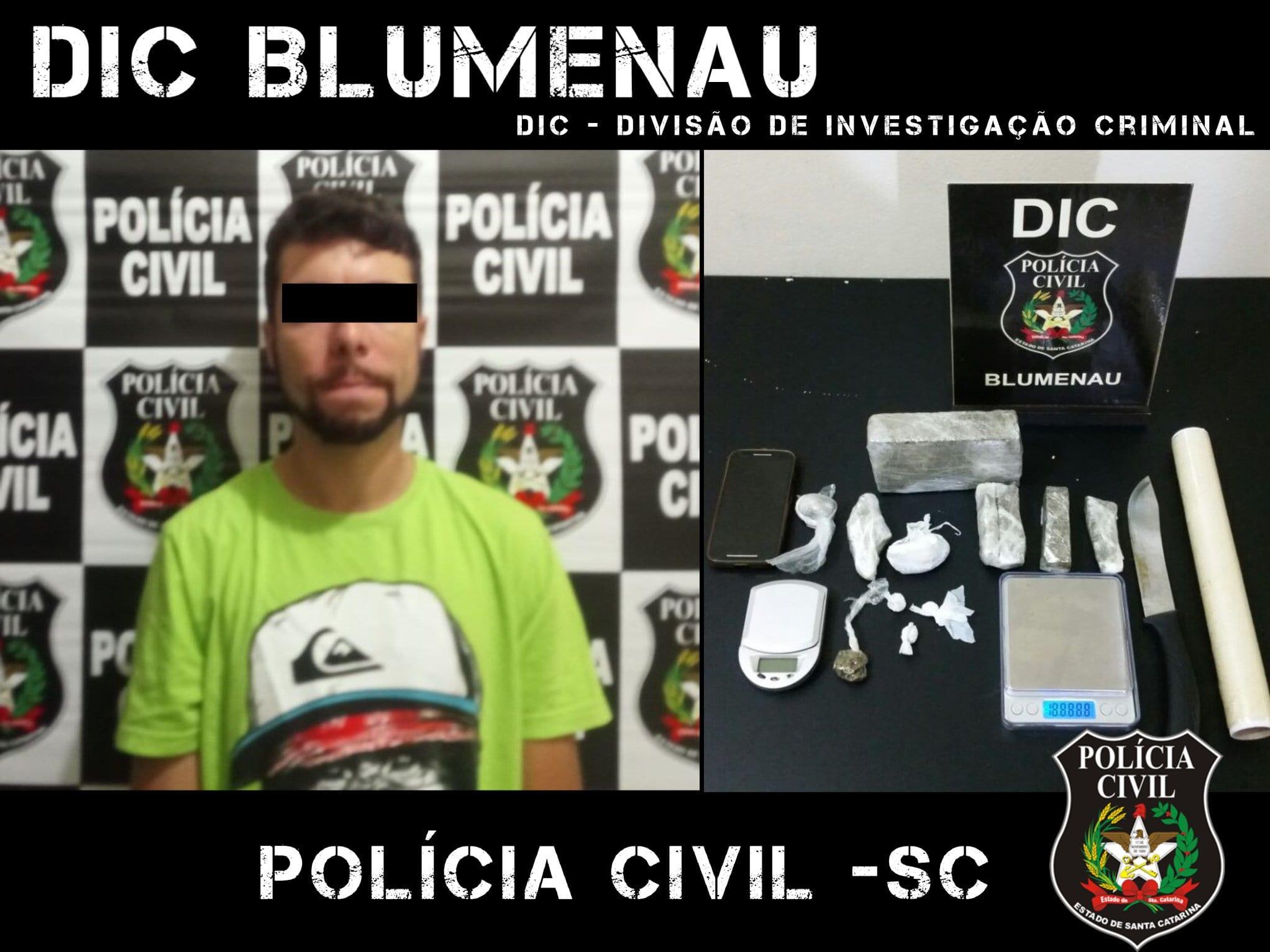 DIC prende traficante que atuava no bairro Itoupava Norte