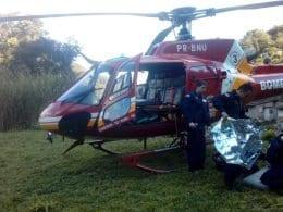 Criança foi atendida no local e encaminhada ao Hospital Santo Antônio (CBM)