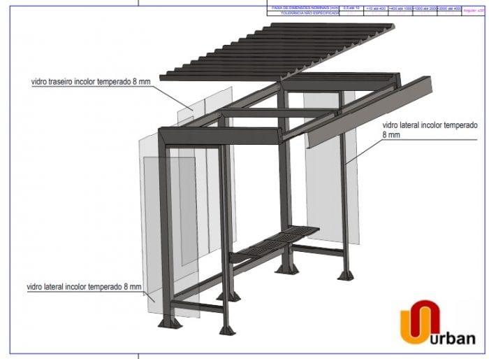Novo modelo de abrigo conta com estrutura metálica e vidros. além de um banco
