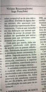 Cemitério de gatos, uma das curiosidades para quem visita a cidade Blumenau. Publicação do jornal O Estado, 3 de julho de 1983.