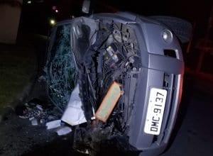 Veículo roubado foi destruído na colisão (PMSC)