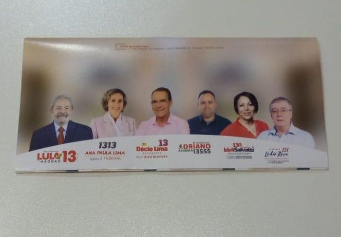 Santinhos trazem Lula como candidato à Presidência da República (Leitor/Farol Blumenau)