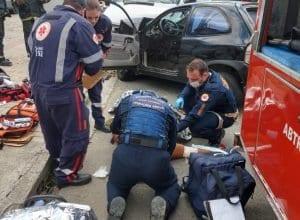 Acidente na Rua Frederico Jensen deixa mulher ferida - foto do CBM