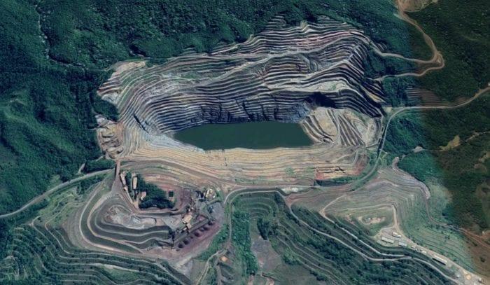 Barragem da Mina de Gongo Seco, da Vale - Imagem Google Maps