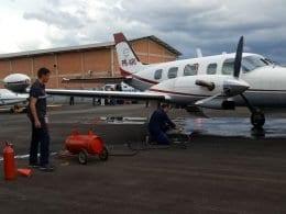 Aeronave atacada por bandidos armados na Itoupava Central - foto das redes sociais