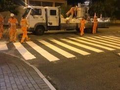 Mais de 200 faixas de pedestres da cidade recebem pintura a quente - foto da Prefeitura de Blumenau