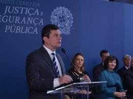 Sergio Moro, Ministro da Justiça e Segurança Pública, durante evento do MJ - foto de Isaac Amorim/MJSP