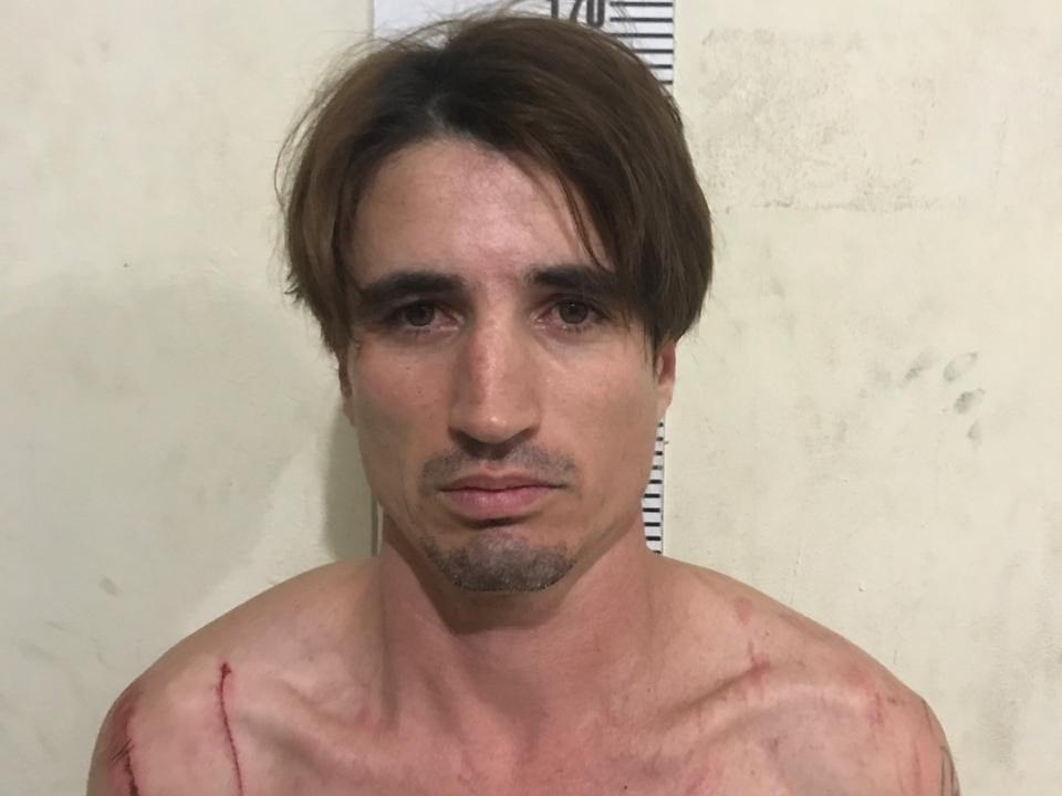 Misael Moré, de 36 anos, após sua prisão - foto da Polícia CIvil