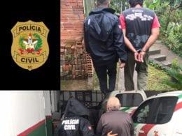 Presos sendo conduzidos por policiais na operação Marias - foto da Polícia Civil