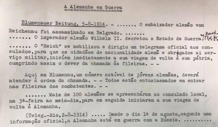 Nota de convocação a blumenauenses para servir na primeira Guerra Mundial - registro do Arquivo Histórico de Blumenau - AHJFS. Reprodução Charles Schwanke