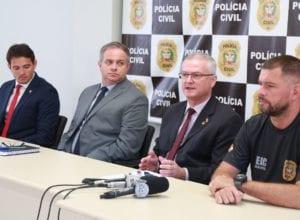 Delegado geral Paulo Koerich durante coletiva de imprensa - foto de Julio Cavalheiro/Secom