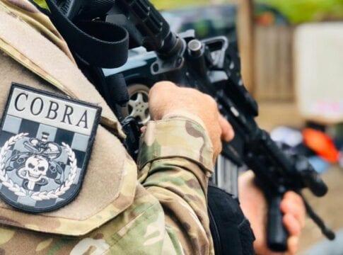Policial do Cobra durante operação em Santa Cecília - foto da PMSC