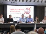 Governador Carlos Moisés fala sobre o Covid-19 durante coletiva - foto de Clovia Perozin / SDE