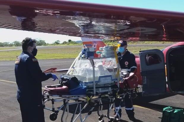 Prematuro durante operação de transporte para Blumenau - foto do Corpo de Bombeiros