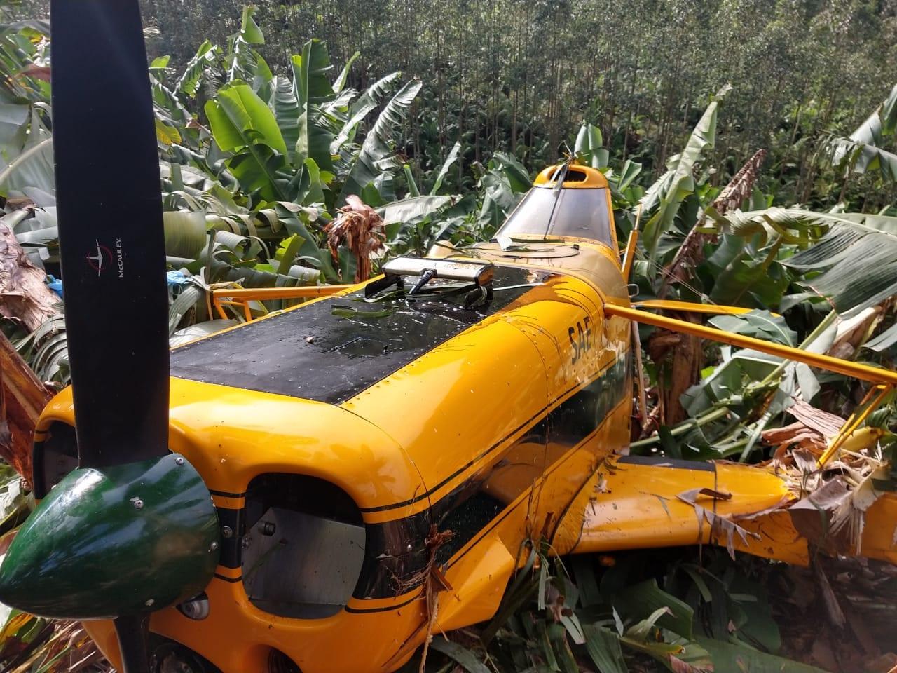 Aeronave agrícola faz pouso forçado em Ilhota - foto do Corpo de Bombeiros