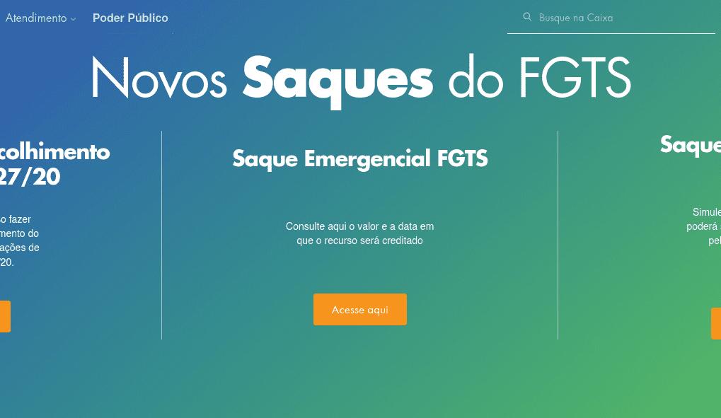 Opções de saque do FGTS - imagem do site da Caixa