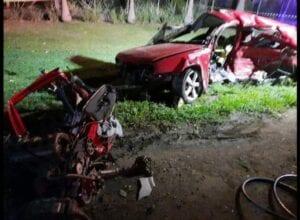 Colisão caus duas mortes na BR-470 em Apiúna - foto dos Bombeiros Voluntários