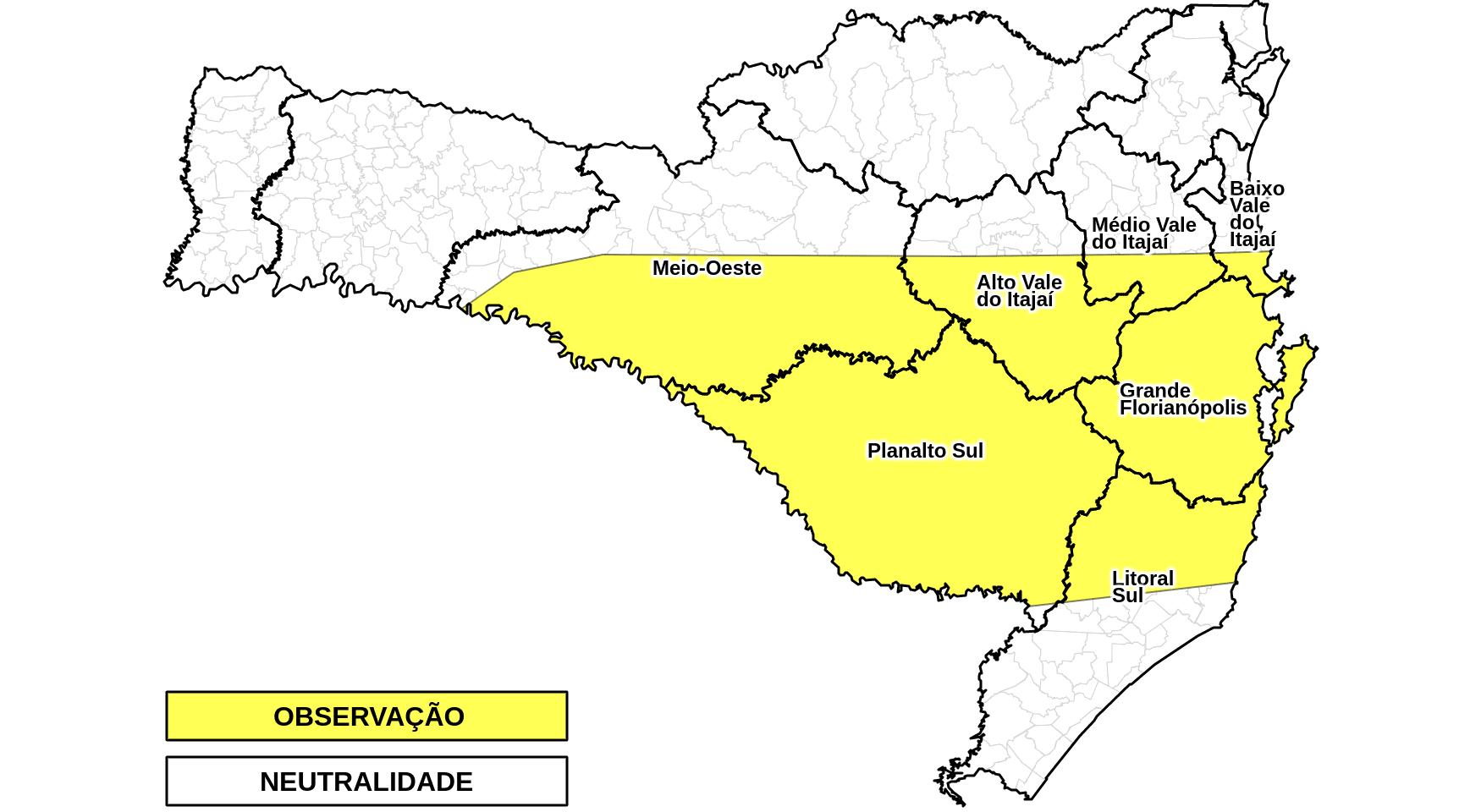 Mapa que demonstra áreas que serão mais atingidas pela chuva