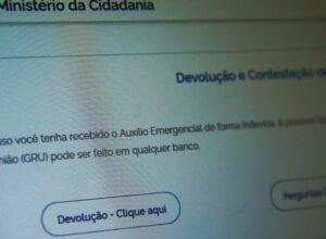 Página do Ministério da Cidadania para devolução do auxílio emergencial