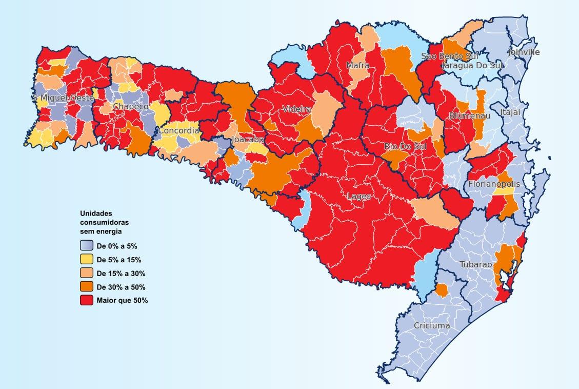 Mais de um milhão de unidades consumidoras sem energia em Santa Catarina