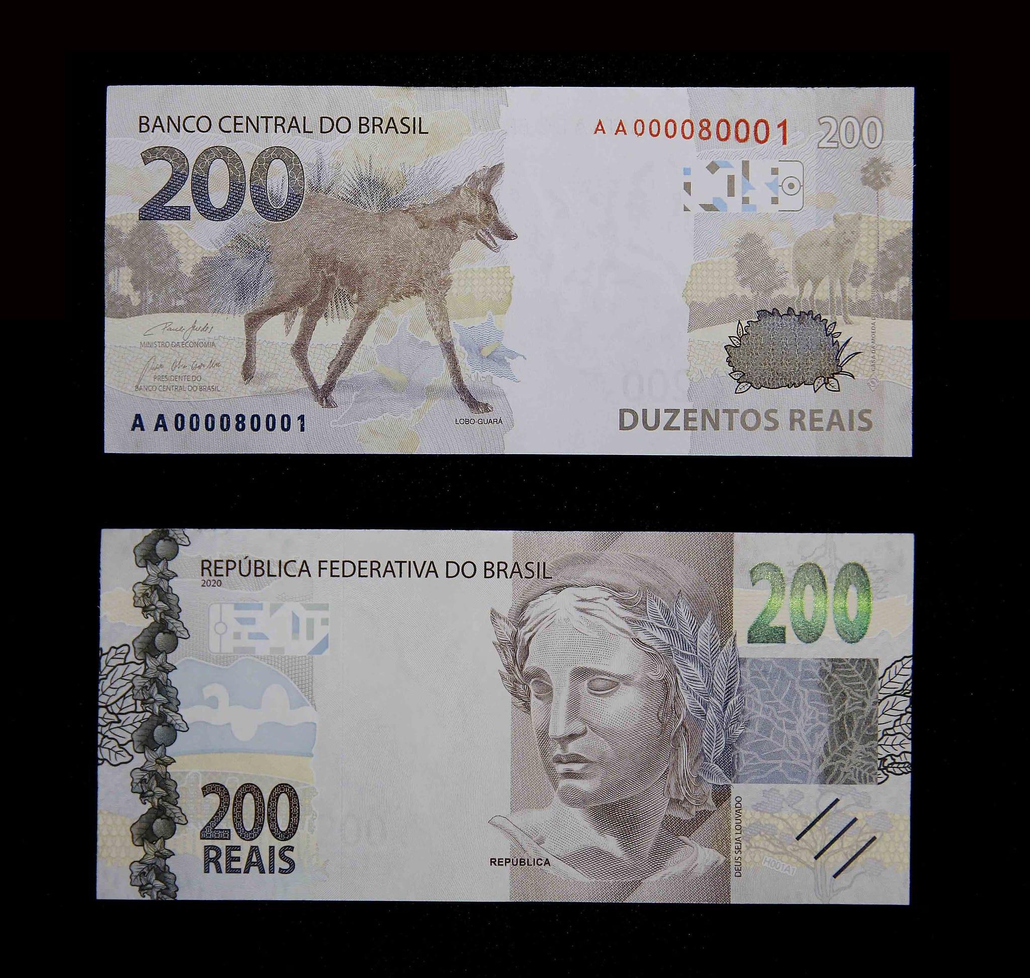 Nova nota de R$ 200 com a imagem do lobo-guará - foto de Raphael Ribeiro/BCB