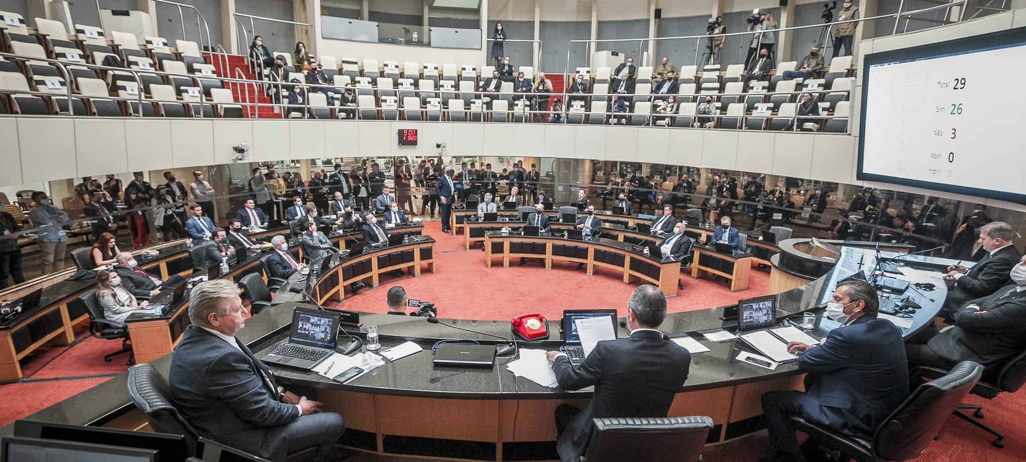 Plenário da Alesc durante abertura do processo de impeachment - foto de Bruno Collaço