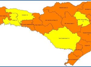 Matriz mostra 12 regiões catarinenses em situação grave
