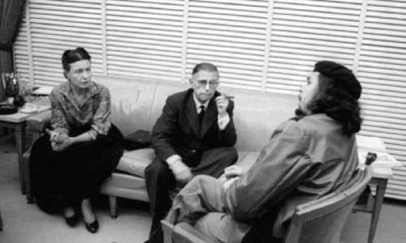 Simone de Beauvoir, Sartre e Che no Banco Nacional de Cuba. Março de 1960