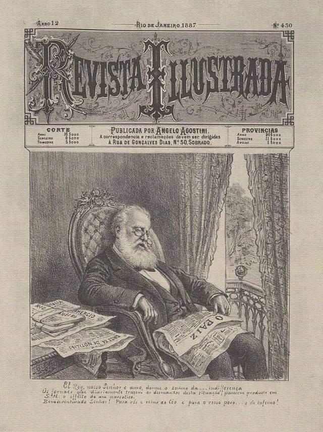 """Ignorância dirigida - Imagem de D. Pedro II da Revista Ilustrada. Na legenda do cartum temos: """"El Rey, nosso Senhor, e amo, dorme o sono da indiferença"""". Sonolento pela enfermidade da Diabetes, D. Pedro II foi alvo de críticas e caricaturas mordazes."""