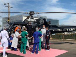 Criança ferida é transferida para hospital em Chapecó - foto da Polícia Civil